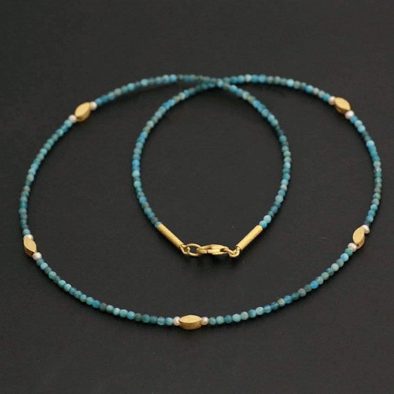 Perlenkette echt tü rkis Apatit blau gold Halskette Collier Lä nge 47 cm Geschenk fü r sie handgefertigt