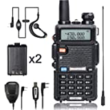 BaoFeng Walkie Talkie UV-5R Dual Band Two Way Radio with one more 1800mAh UV5R Battery one Hand Mic and one TIDRADIO 771 Antenna Baofeng Radio Ham radio