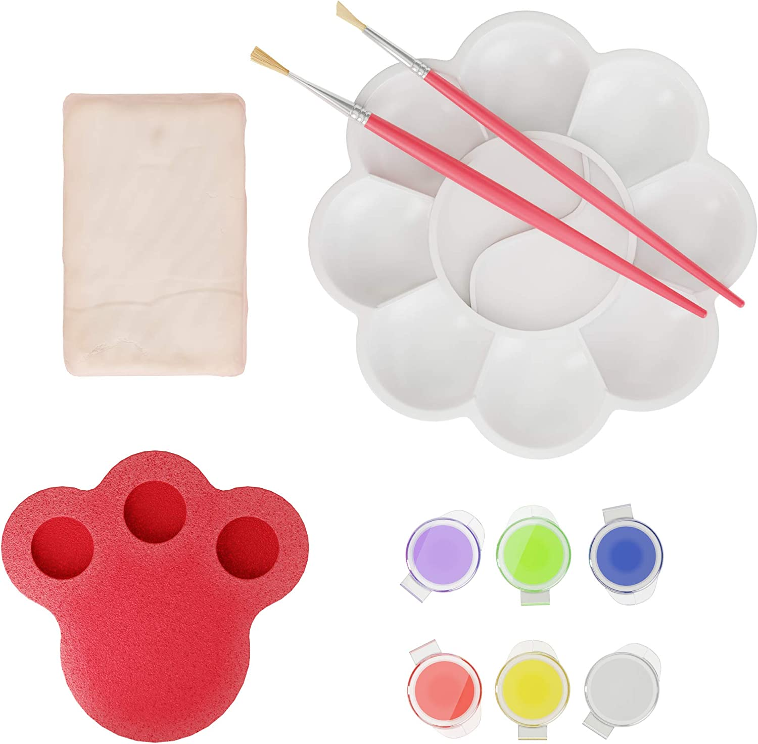 2 Paintbrushes Sponge 6 Color Vials Kids Pottery Clay Set Paint Palette Instruction Guide Air-Dry Clay Dan/&Darci Pottery Studio Refill Kit Includes: 1 Lb Works with All Brands