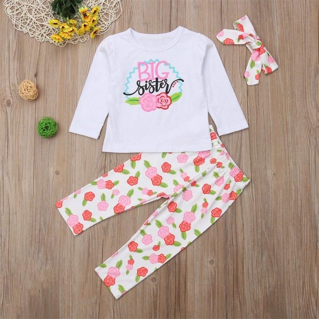 3PCS Set Sister Match Clothes Big Sister T-Shirt Little Sister Romper Floral Pant Headband Outfits Family Matching Clothes