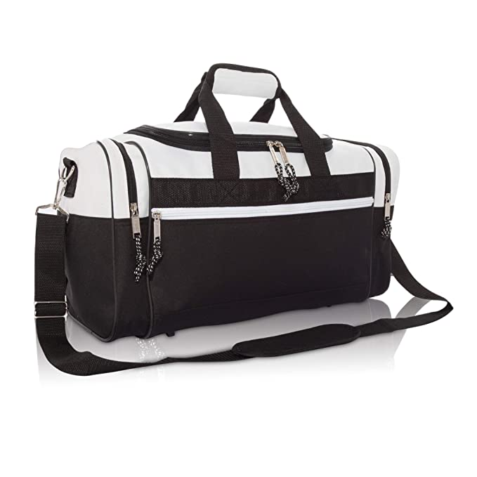 4522eab08ea6 DALIX 17 quot  Blank Duffle Bag Duffel Bag Travel Size Sports Durable Gym  Bag (White