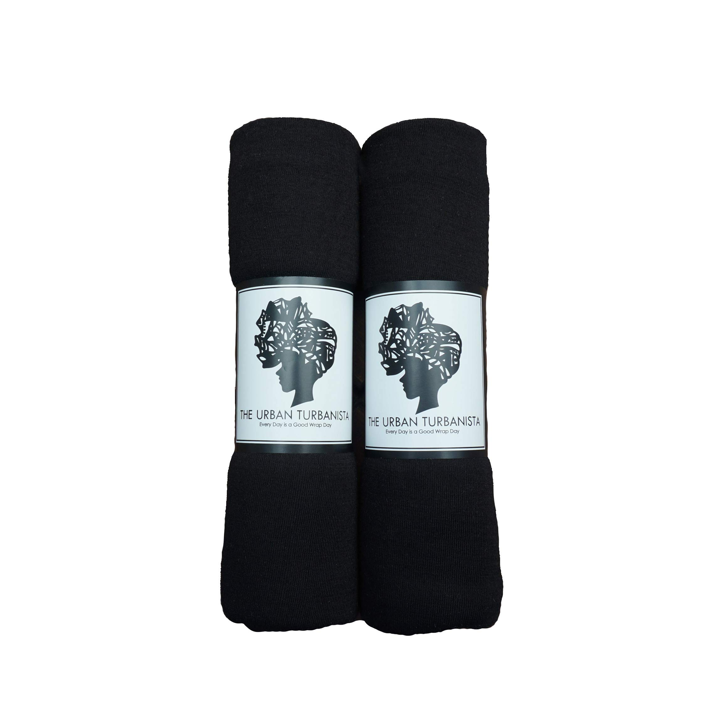 Headwraps & Turbans Long Stretch Head wrap Scarf by The Urban Turbanista | BLACK/BLACK 2 pack by The Urban Turbanista