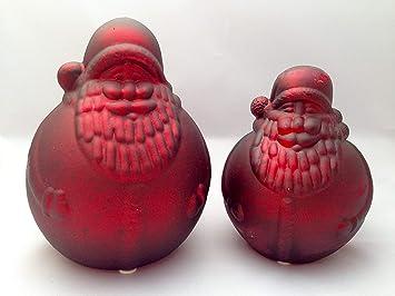 Bauernsilber Weihnachtsdeko.2x Nikolaus Weihnachtsmann Bauernsilber Rot 15cm 18cm Glas Home