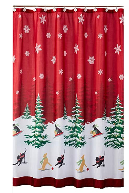 Christmas Shower Curtains Amazon.Christmas Shower Curtain Snow Dogs And Trees Scene With 12 Matching Winter Snowflakes Hook Set