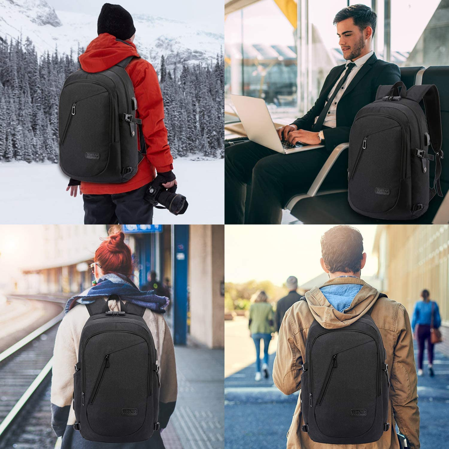 Laptop Backpack,Business Travel Anti Theft Backpack Gift for Men Women with USB Charging Port Lock,Slim Durable Water Resistant College School Bookbag Computer Bag Fits 15.6 Inch Laptop Notebook: Computers & Accessories
