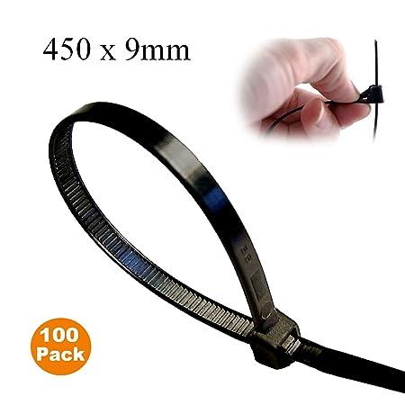 """100 10/"""" Black Reusable Releasable Zip Tie Cable Wrap Strap"""