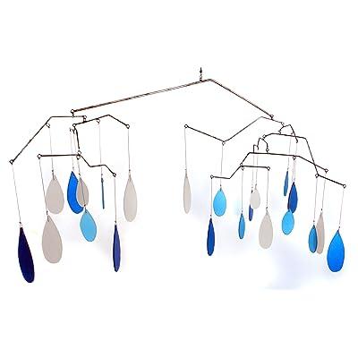 Blue Handworks Glass Raindrops Mobile Yard Art : Wind Sculptures : Garden & Outdoor