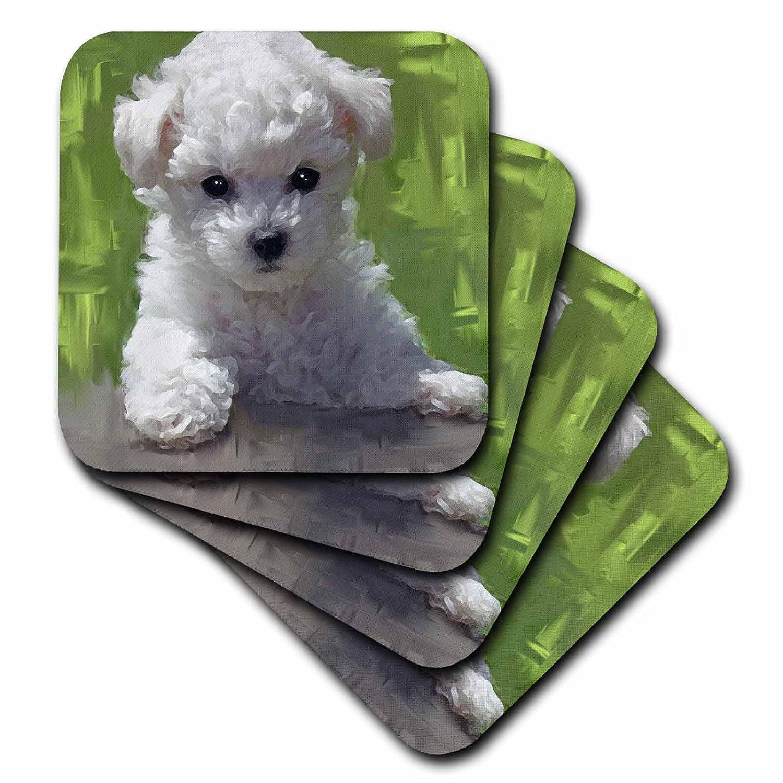 3dRose cst/_5323/_3 Bichon Frise Puppy Ceramic Tile Coasters Set of 4