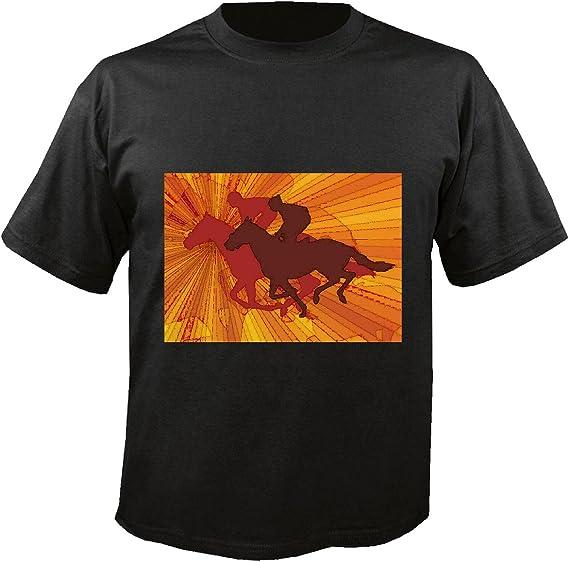 T-Shirt Camiseta Remera Silueta ??Equitación Concurso Ecuestre Jinete del Caballo del Dressage Cabeza del Vaquero Riding Rodeo Salto del Caballo Semental del Potro in Negro: Amazon.es: Ropa y accesorios