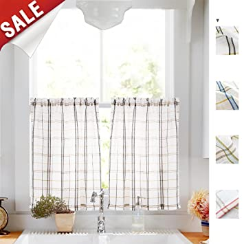 Amazoncom White Check Kitchen Tiers Linen Look Black And Taupe