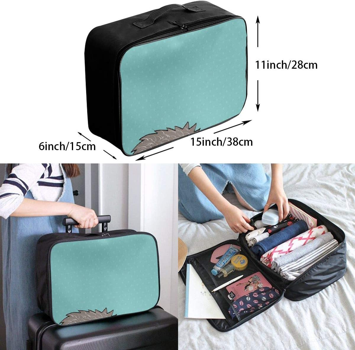 Sad Cartoon Hedgehog Travel Carry-on Luggage Weekender Bag Overnight Tote Flight Duffel In Trolley Handle