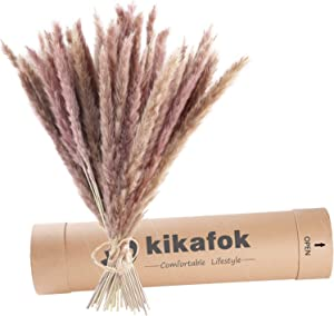 kikafok 60Pcs 16 Inch Tall Dried Pampas Grass Plumes, Phragmites Communis Dried Flowers,Pampas Grass Decor,Bouquet for Wedding Floral Arrangements Home Decorations