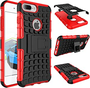 iPhone 7 8 Plus Armor Case with Kickstand Hard Heavy Duty Rubber Dual Layer Drop Protection 7/8Plus Shockproof Cover (Red)