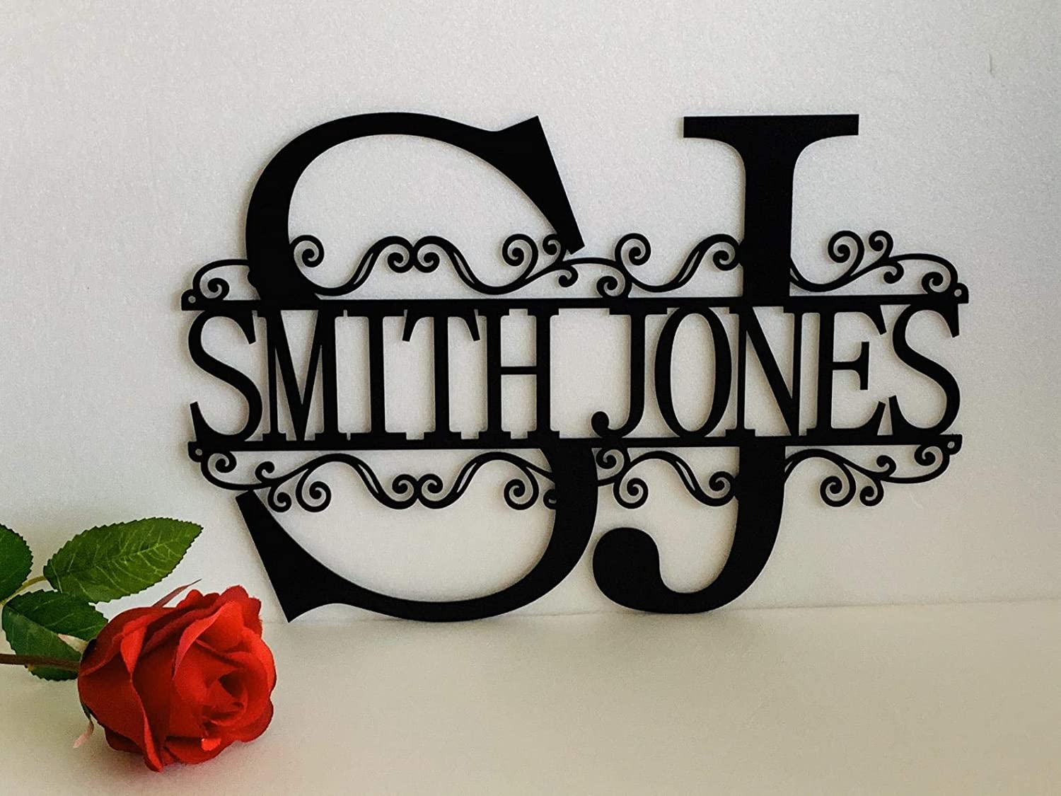 Two Letter Initials Split Wreath Wall Monogram 2 Custom Names Hanging Sign First and Last Names Personalized Metal Acrylic Wood Housewarming Anniversary Wedding Fathers Day Gift Door Hanger Home Decor