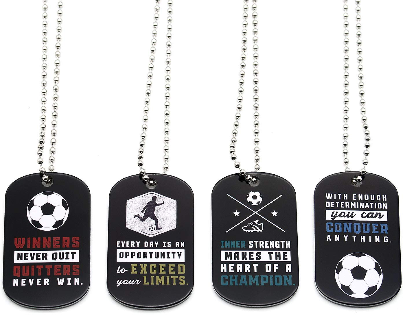 Party Favors Sports Gifts Uniform Supplies for Soccer Players Fans Team Members 12-Pack Soccer Motivational Dog Tag Necklaces Wholesale Bulk Pack of 1 Dozen Necklaces