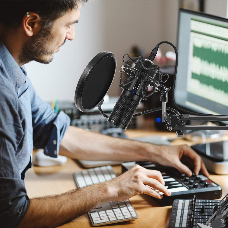 TONOR Microphone /à Condensateur USB Enregistrement pour Ordinateur de Bureau et Ordinateur Portable MAC Windows Microphone Cardio/ïde pour Enregistrement Studio Conversation YouTube Voice Over A