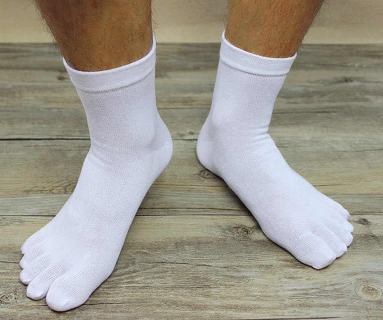 MOHSLEE Mens Sport Toe Socks Boys Running Five Finger Tube Sock Elastic 6 Pairs