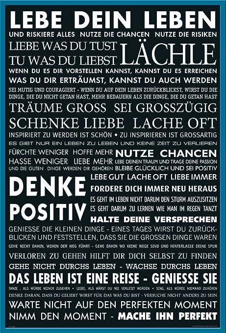 Motivational Lebe Dein Leben Schwarz Zitate Spruche Motivations Poster Druck Poster Grosse 61x91 5 Cm Wechselrahmen Shinsuke Maxi