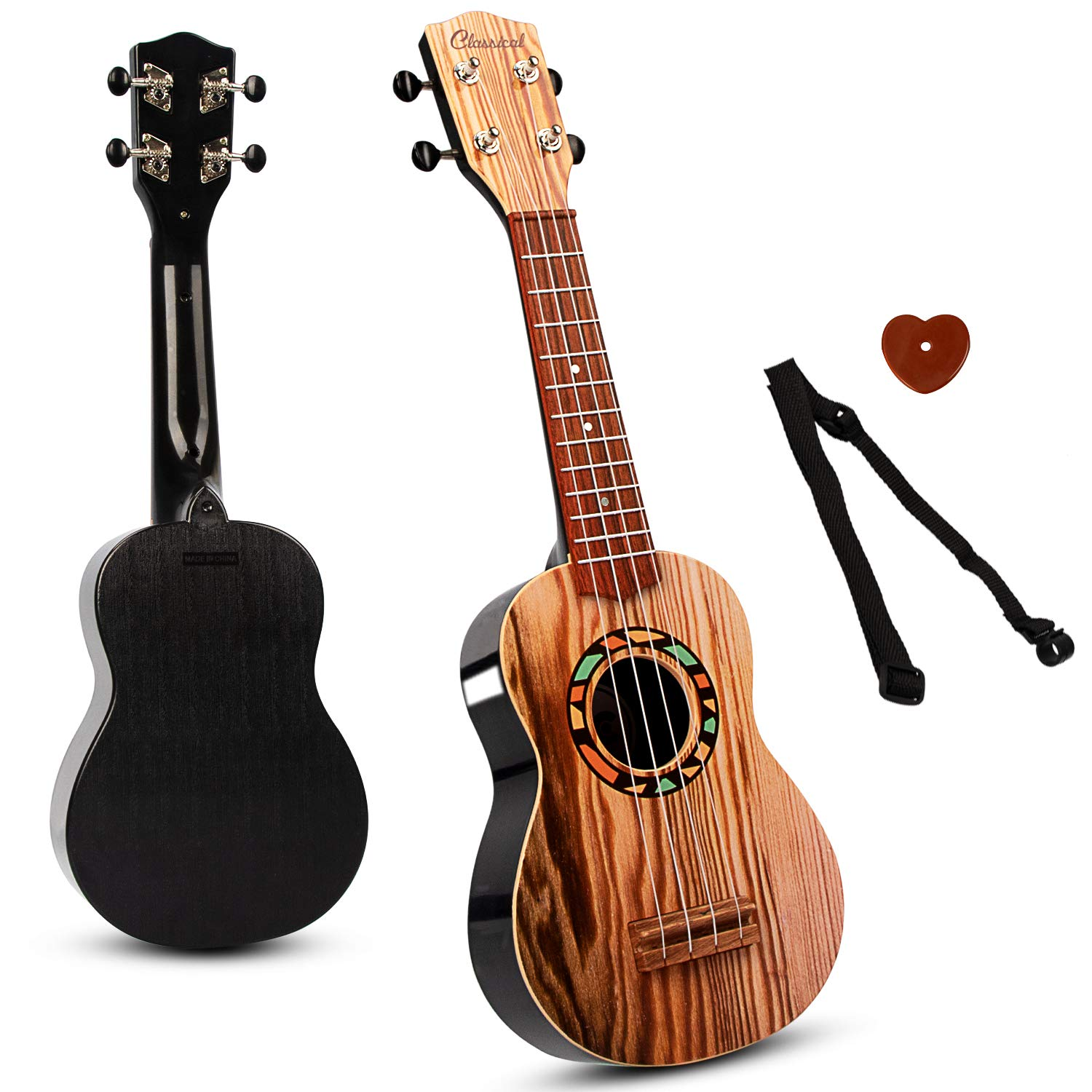 SAOCOOL Ukulele Guitar for Kids, 21 inch Ukulele Guitar Kids Guitar Toy, 4 String Child Guitar Toys for Girls and Boys by SAOCOOL