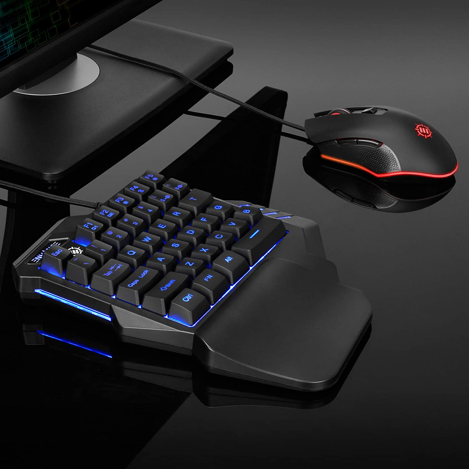 ENHANCE Gaming Keypad One Handed Keyboard Mini Gaming Keyboard- 7 Color LED Backlit Programmable Keys Ergonomic Wrist Pad and Braided USB Cable Great for Esports FPS /& Action Games
