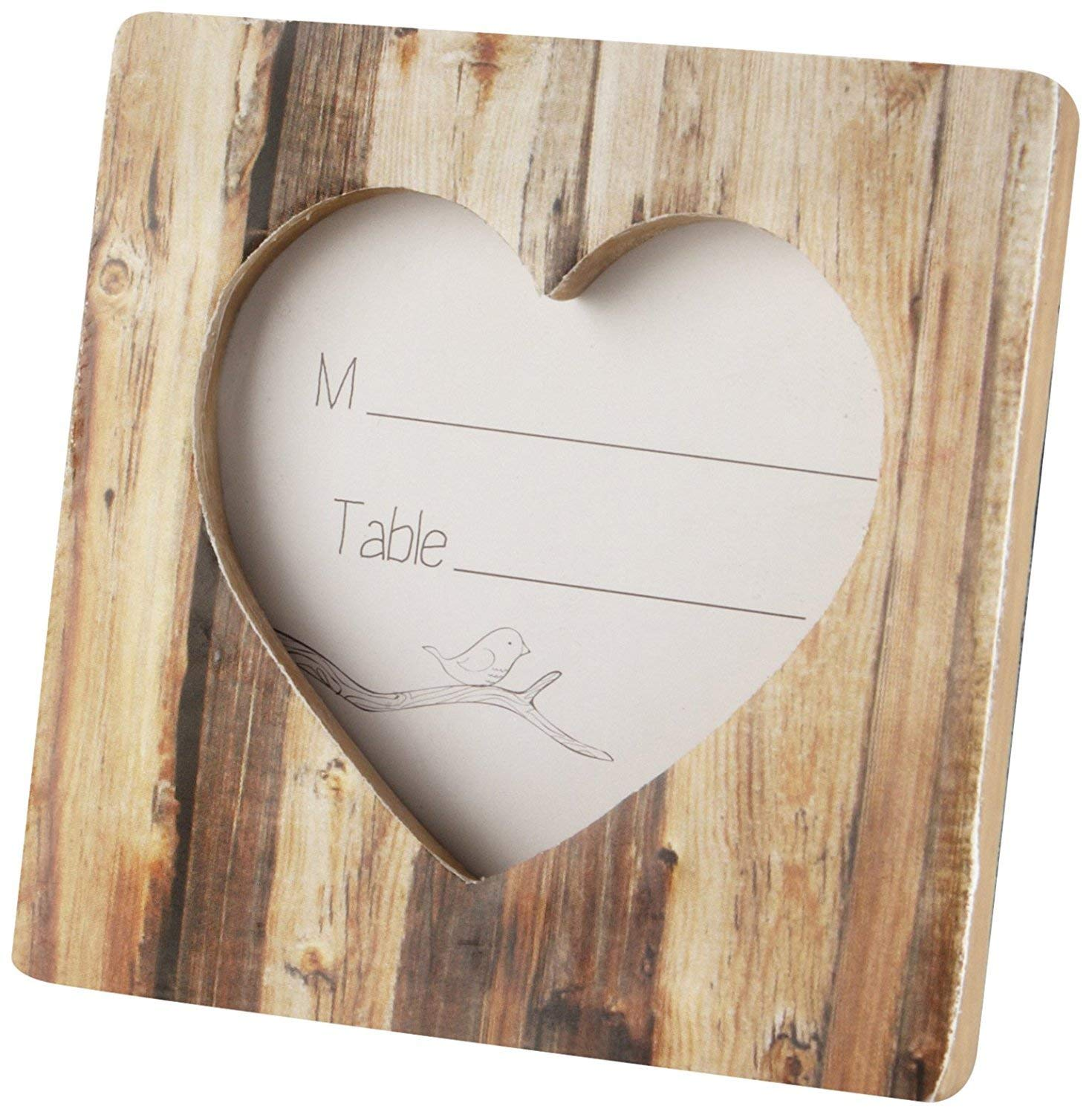 100 ''Rustic Romance'' Faux-Wood Heart Place Card Holder/Photo Frame