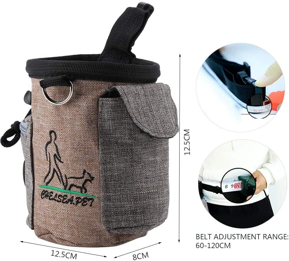 Portable Pet Feed Pocket Detachable Dog Training Treat Pouch Puppy Feed Reward Waist Bag Pets Outdoor Snack Storage Pocket with Adjustable Waistband Sky Blue