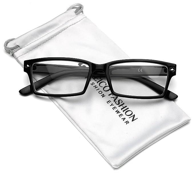 c1c3337e53a Amazon.com  Horn Rimmed Men s Rectangular Clear Lens Glasses (Black ...