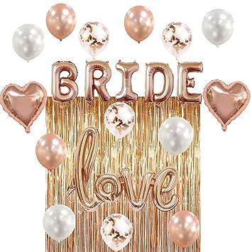 bridal shower bachelorette party decorations kit rose gold set includes 1 fringe curtain
