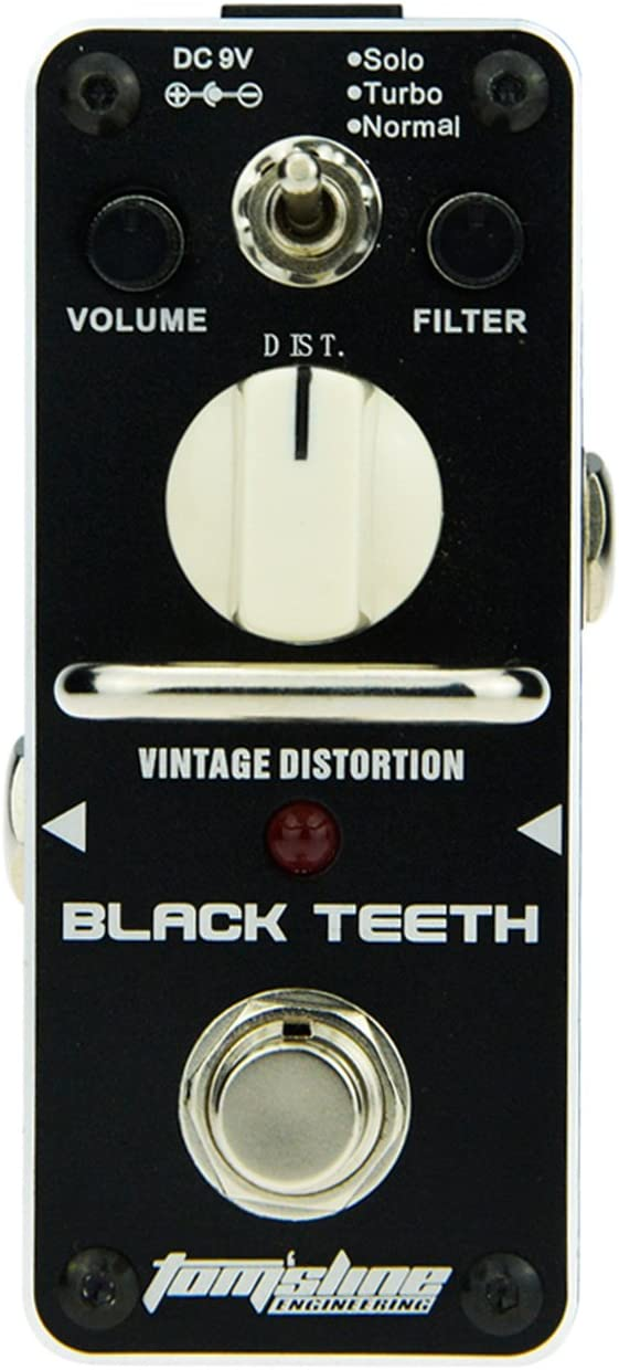 Pedal de efecto distorsión de la marca Aroma Music Tom´sline Engineering., negro
