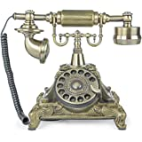 LNC Bronze LNC Retro Vintage Antique Style Rotary Dial Desk Telephone Phone Home Living Room Decor
