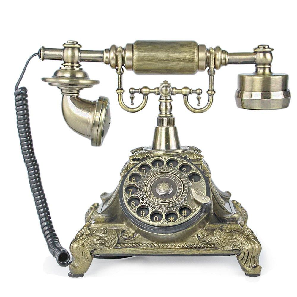 LNC Bronze Retro Vintage Antique Style Rotary Dial Desk Telephone Phone Home Living Room Decor