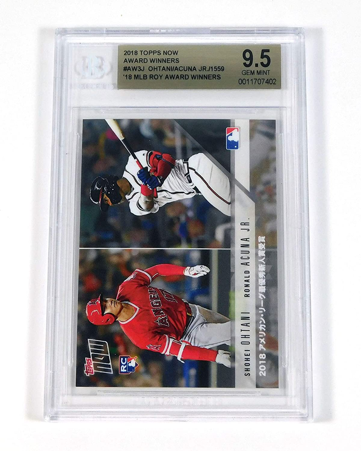 2018 Topps Now Ohtani Acuna Rookie of the Year Dual Award Winners BGS 9.5 Baseball Graded Card