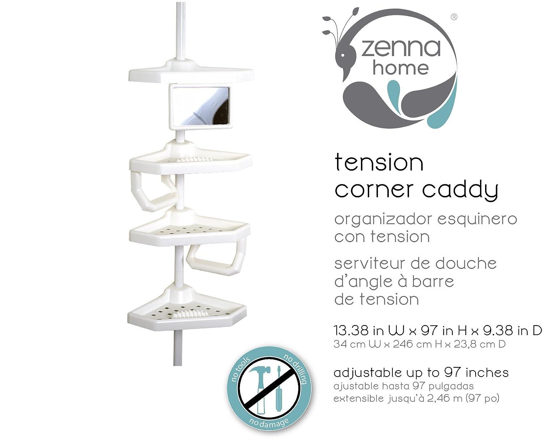 Amazoncom ZPC W Mirror Tub  Shower Tension Pole Caddy - Corner garden tub dimensions