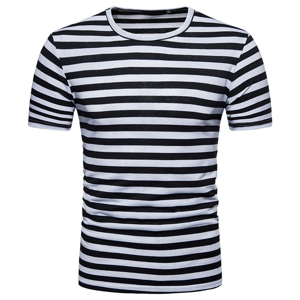 Men Stripes T-Shirts Short Sleeve Casual Crew Neck Slim Fit Tees Outfits Top (S, Black)