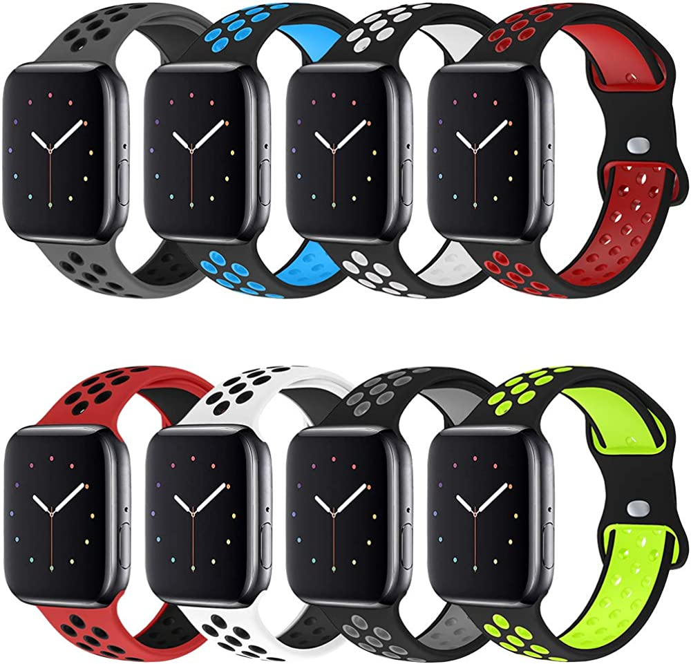 NOY Sport Bands Compatible With Apple Watch Band 44mm 42mm 40mm 38mm,Soft Silicone Breathable Replacement Watchbands Strap for iWatch Series 6/5/4/3/2/1/SE