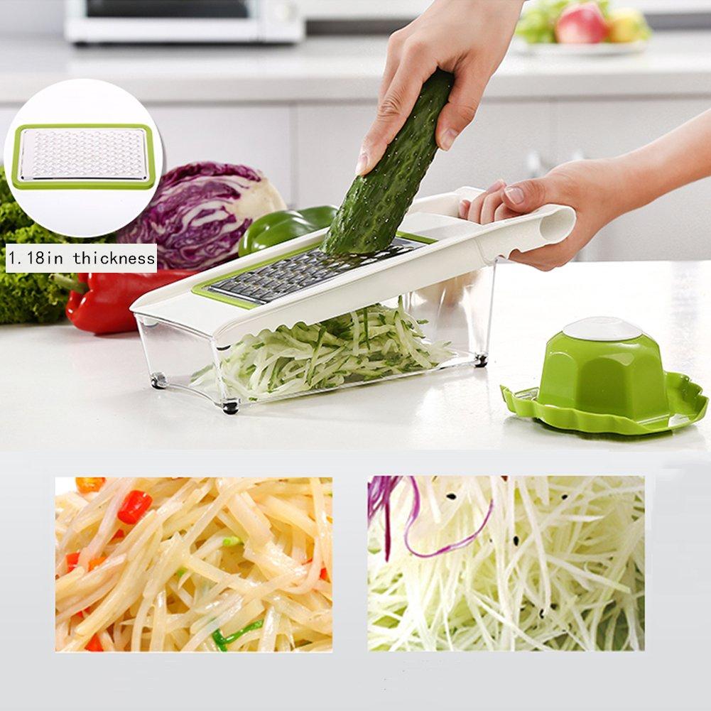 Mandoline Slicer and Dicer Kitchen Vegetable Slicer with 5 Interchangeable Stainless Steel Blades Food Fruit Julienne Slicer Cutter Chopper Dishwasher Safe by Mandoline Slicer (Image #5)