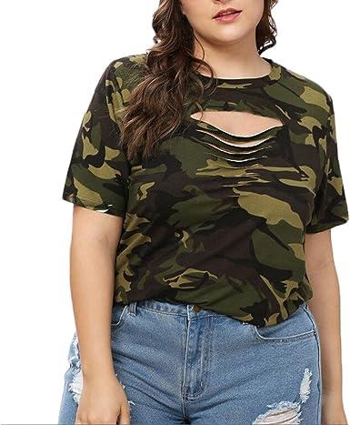 Mujer Talla Grande Camuflaje Tops Blusa Manga Corta O-Cuello Ahueca Camisas Casual Verano Camiseta para Mujer Suelta Wyxhkj: Amazon.es: Ropa y accesorios