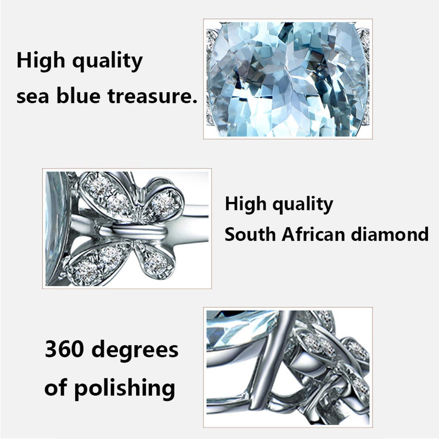 floral hoop Classic Round Butterfly Finger Rings Stainless Steel Rings for Women Crystal Ring Fashion Jewelry,7,Dark Blue