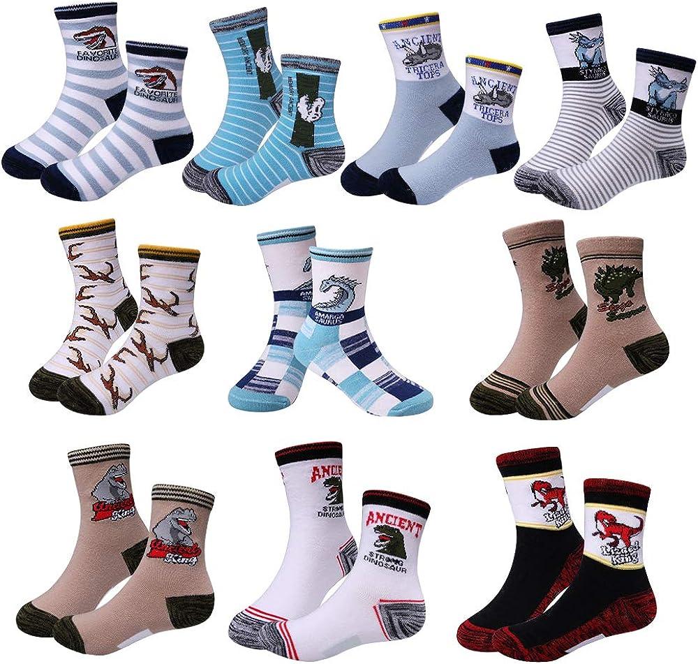 2019 boys dinosaur socks 4-9 year old children's socks (10 pairs)