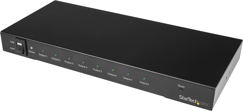 StarTech.com 4K 60hz HDMI Splitter HDR Support ST128HD20 HDMI Distribution Amplifier 7.1 Surround Sound Audio 8 Port HDMI 2.0 Splitter