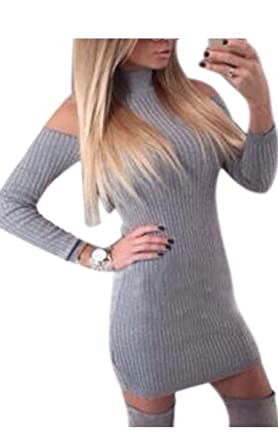 8a52850a9181 Cravog Broyage Casual Laine Sexy Robe Pull Tricot Manches Longues ...