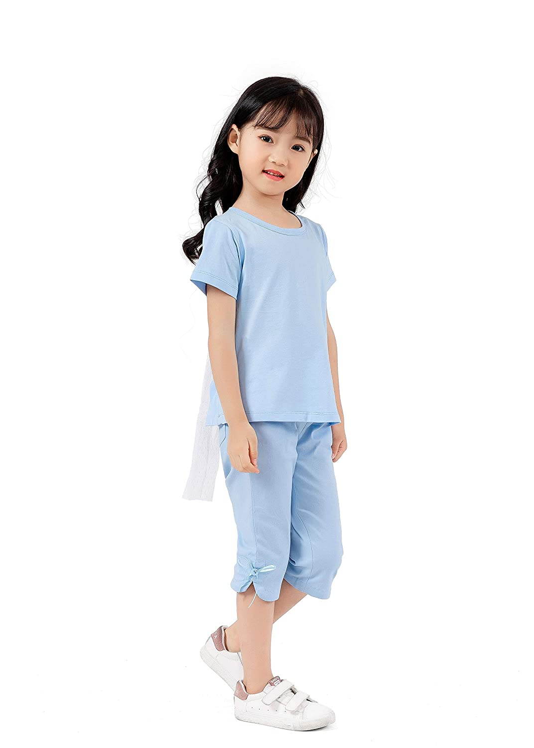 Magkay Kids Girls Bowknot Elastic Casual Cropped Pants Pocket