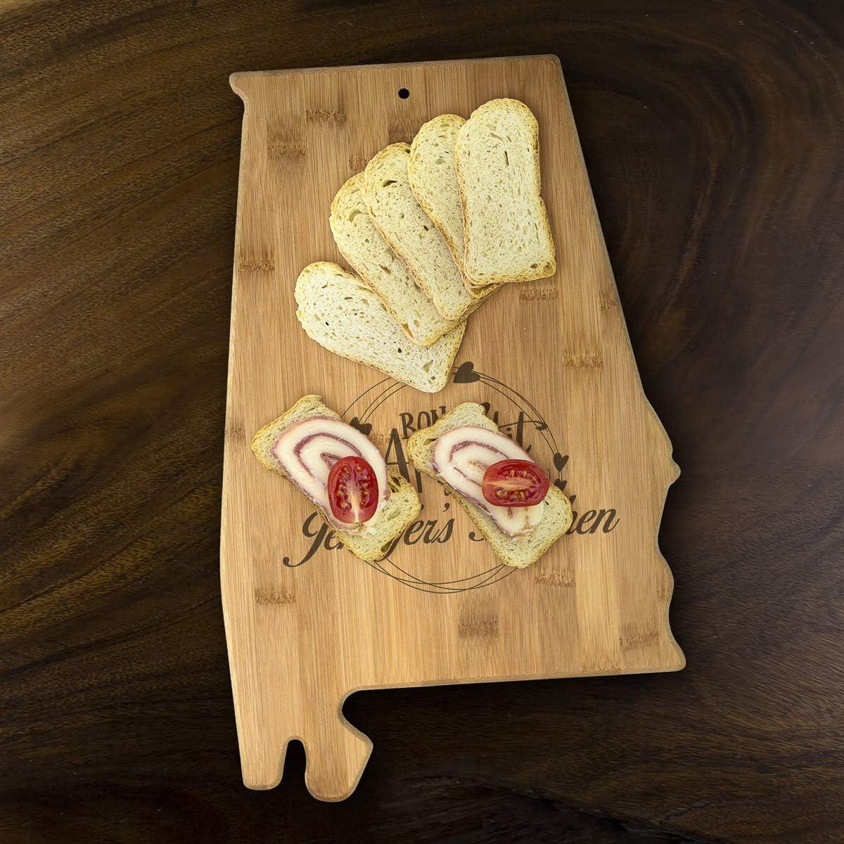 Amazon Com Usa Alabama State Shaped Personalized Bon Appetit Cutting Board Custom Bamboo Serving Cutting Board Alabama Kitchen Dining