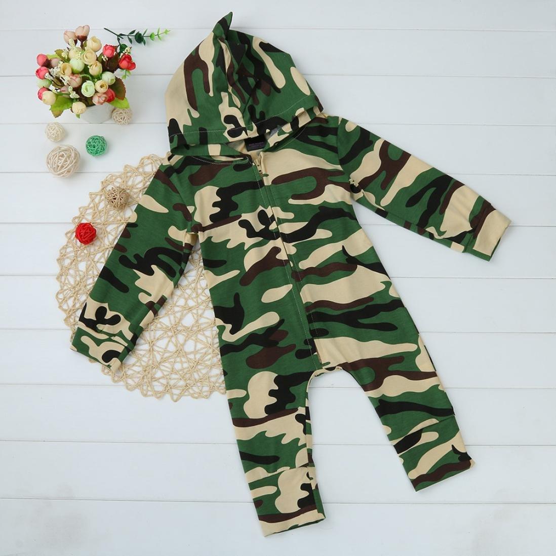 feiXIANG Bambini Tuta Neonato neonato bambino ragazzi ragazze camuffamento Hooded pigiama tuta abbigliamento vestito-camouflage-carino