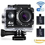 Maxesla 4K Action Camera Sports Camera WIFI 2.0 Inch LCD 16MP Waterproof Case 170° Ultra Wide-Angle Lens DV Camcorder with 2 Batteries and Free Mounting Accessories Kit For Bike Motorcycle Surfing Diving Swimming Skiing etc