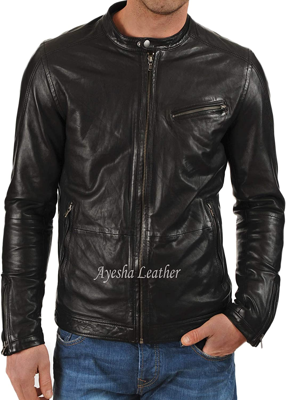 Ayesha Mens Leather Jackets Motorcycle Bomber Biker Genuine Lambskin 40