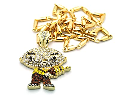 Stewie griffin family guy iced out gold tone pendant w 4mm 24 stewie griffin family guy iced out gold tone pendant w 4mm 24quot chain mz32g aloadofball