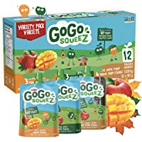 GoGo squeeZ Squeezable Applesauce Pouches, Variety Pack, Apple, Mango, Maple Syrup, Nut-Free School Snack for Kids, 1…