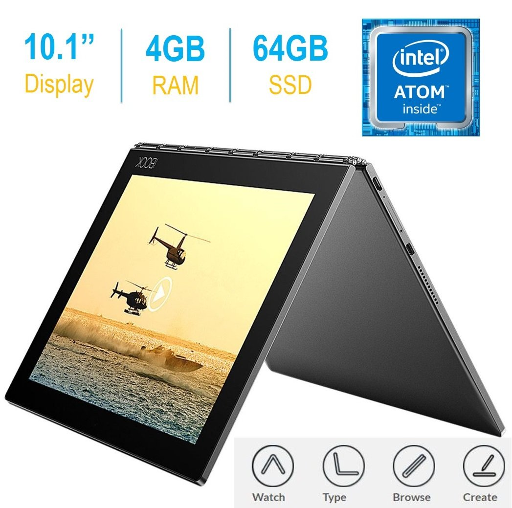 "2017 Newest Lenovo Yoga Book 10.1"" FHD Touch IPS 2-in-1 Convertible Tablet PC, Intel Atom x5-Z8550 1.44GHz, 4GB RAM, 64GB SSD, Bluetooth"