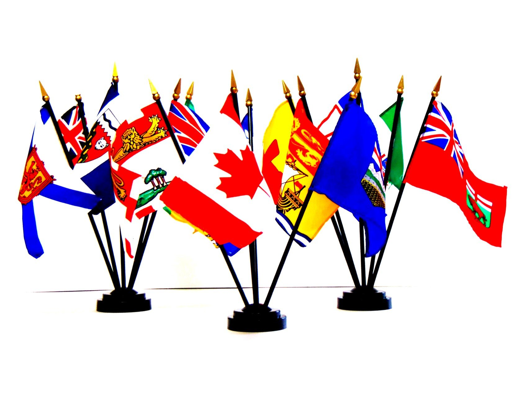 CANADIAN PROVINCE and TERRITORY FLAGS- SET of 14 Rayon 4''x6'' Flags with three 5-hole bases, 4x6 Miniature Desk & Table Flags, Small Mini Stick Flags